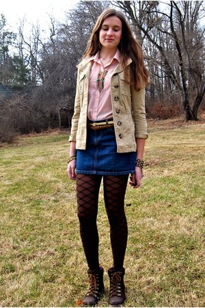 dark brown Call it Spring boots - nude H&M jacket - dark brown HUE tights