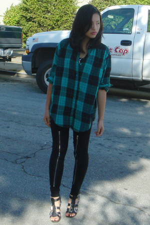 thrifted shirt - Nine West shoes - Ralph Lauren blazer - tripp tights