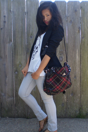 thrifted blazer - homemade t-shirt - vivienne westwood purse - Anne Klein shoes