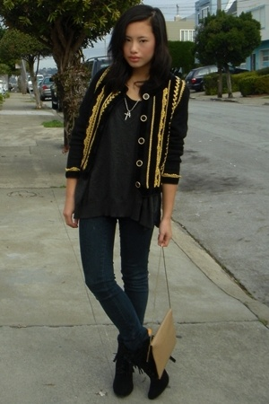 vintage jacket - Forever21 sweater - Ninas jeans - Urbanogcom shoes