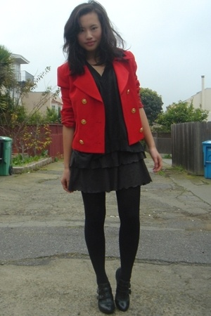 vintage blazer - Ross skirt - forever 21 sweater - Report shoes