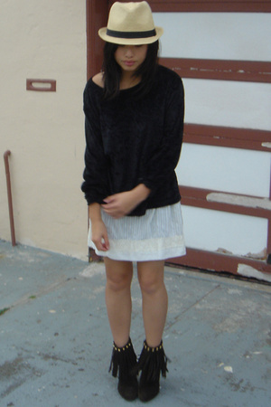 forever 21 hat - Hand It Over top - homemade skirt - urban original shoes