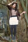 Vintage-jacket-cutesygirl-skirt-nine-west-shoes