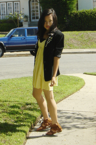 DIY blazer - thrifted dress - gift shoes