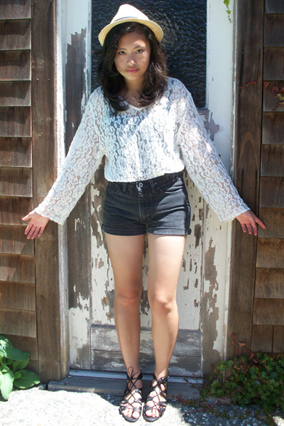 thrifted blouse - Just Usa shorts - Target shoes