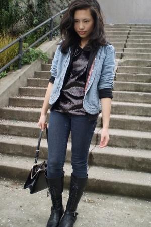 J Jill jacket - BCBG top - Ninas jeans - vintage purse