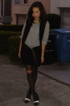 calvin klein sweater - DIY skirt - thrifted vest - vintage shoes