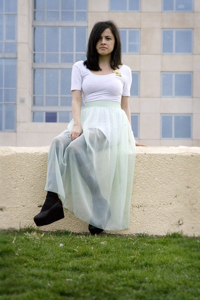 black won hundred flats - aquamarine sheer American Apparel skirt