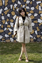 beige vintage coat - brown Steve Madden shoes - gold vintage skirt