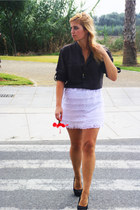 black Stradivarius heels - white DIY skirt - dark brown Zara blouse