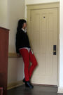 Red-vintage-pants-black-vintage-sweater-black-urban-outfitters-boots-gray-