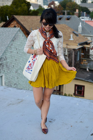 Urban Outfitters skirt - thrifted shoes - H&amp;M scarf