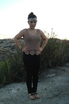 turban Charlotte Russe accessories - tan crochet Thrift Store top