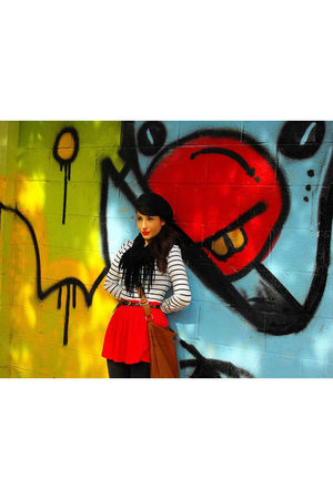 red Forever 21 skirt - white H&M shirt - gray American Apparel tights - black Fo