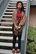 black Forever 21 jeans - bronze scarf - belt - red American Apparel top - brown