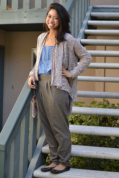 sky blue Forever 21 blouse - light brown Urban Outfitters pants - black LeSportS