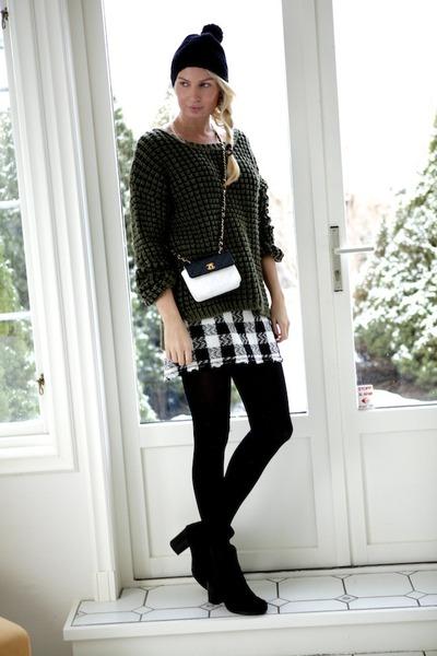 white designed myself skirt - black Tag Oslo boots - black Liberty hat