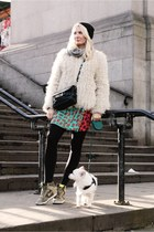 white shearling vintage jacket - black PROENZA SCHOULER bag