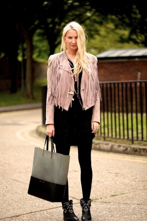 pink leather acne jacket - black Isabel Marant boots - black H&M dress