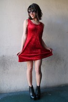 ruby red velvet vintage dress