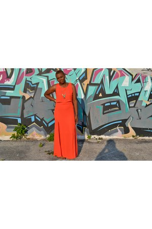 gold gold H&M bracelet - carrot orange maxi dress Topshop dress