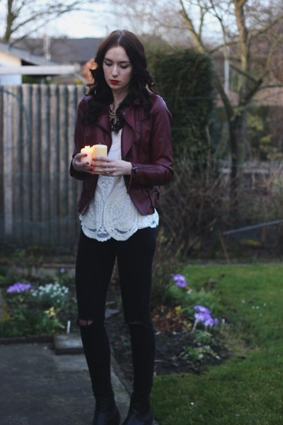 faux leather Primark jacket - lace Sheinside shirt