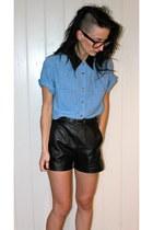 black leather W&W shorts - blue W&W blouse