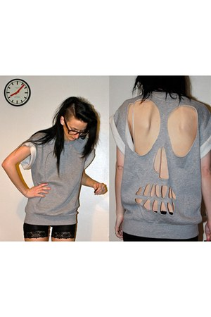 H&M shorts - skull back DIY jumper