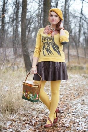 mustard beret Forever 21 hat - mustard owl print kensie sweater