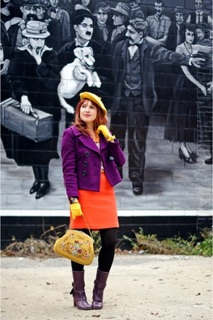 mustard wool beret hat - purple leather boots - magenta cotton wool jacket