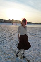 maroon suedette Jessica skirt - ivory lace Forever 21 jacket