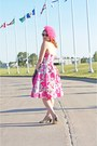 Bubble-gum-adrianna-papell-dress-bubble-gum-feather-vintage-hat