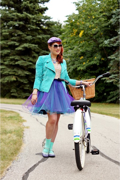 amethyst tulle DIY skirt - light purple wool hat - turquoise blue suede jacket