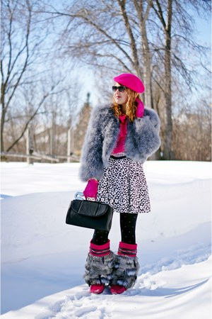 hot pink boots - hot pink wool hat - heather gray feather jacket - black bag