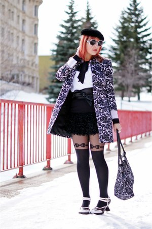 black Jessica coat - black Forever 21 tights - black Greta Constantine belt