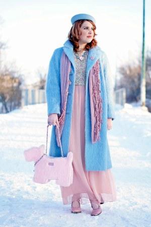 sky blue mohair vintage coat - sky blue wool vintage hat