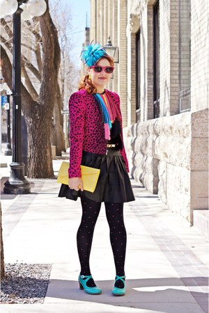 hot pink leopard bcbg max azria jacket - yellow clutch danier bag
