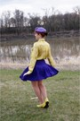 Purple-wool-vintage-hat-yellow-snakeskin-print-joe-fresh-blouse