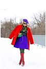 Red-leather-boots-red-wool-oversized-coat-chartreuse-silk-scarf