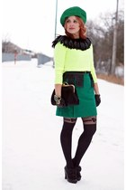 green wool Joe Fresh skirt - black leather Chie Mihara boots