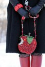 Red-apple-crystal-mary-frances-purse-red-leather-fluevog-boots