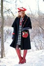 Red-leather-fluevog-boots-white-houndstooth-joe-fresh-dress