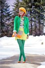 Orange-beret-angora-local-store-hat-green-gap-blazer-green-joe-fresh-tights