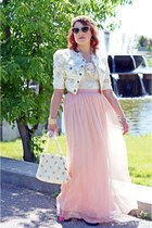 ivory Jessica Simpson jacket - light pink handmade hat - ivory vintage bag