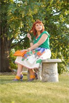 white Roobys Skirts skirt - orange butterfly crown Neesie Designs hat