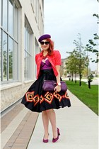 black circle Nine West skirt - coral jacket - purple leather bag
