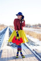 chartreuse skirt - red tweed jacket - blue zigzag tights - red scottie dog purse