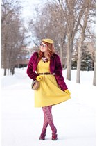 magenta faux fur jacket - mustard dress - magenta fish nets tights