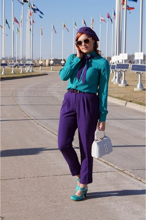 purple ankle pants cynthia rowley pants - white straw vintage bag