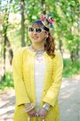Yellow-lace-knit-rachel-roy-coat-white-crochet-lace-forever-21-dress